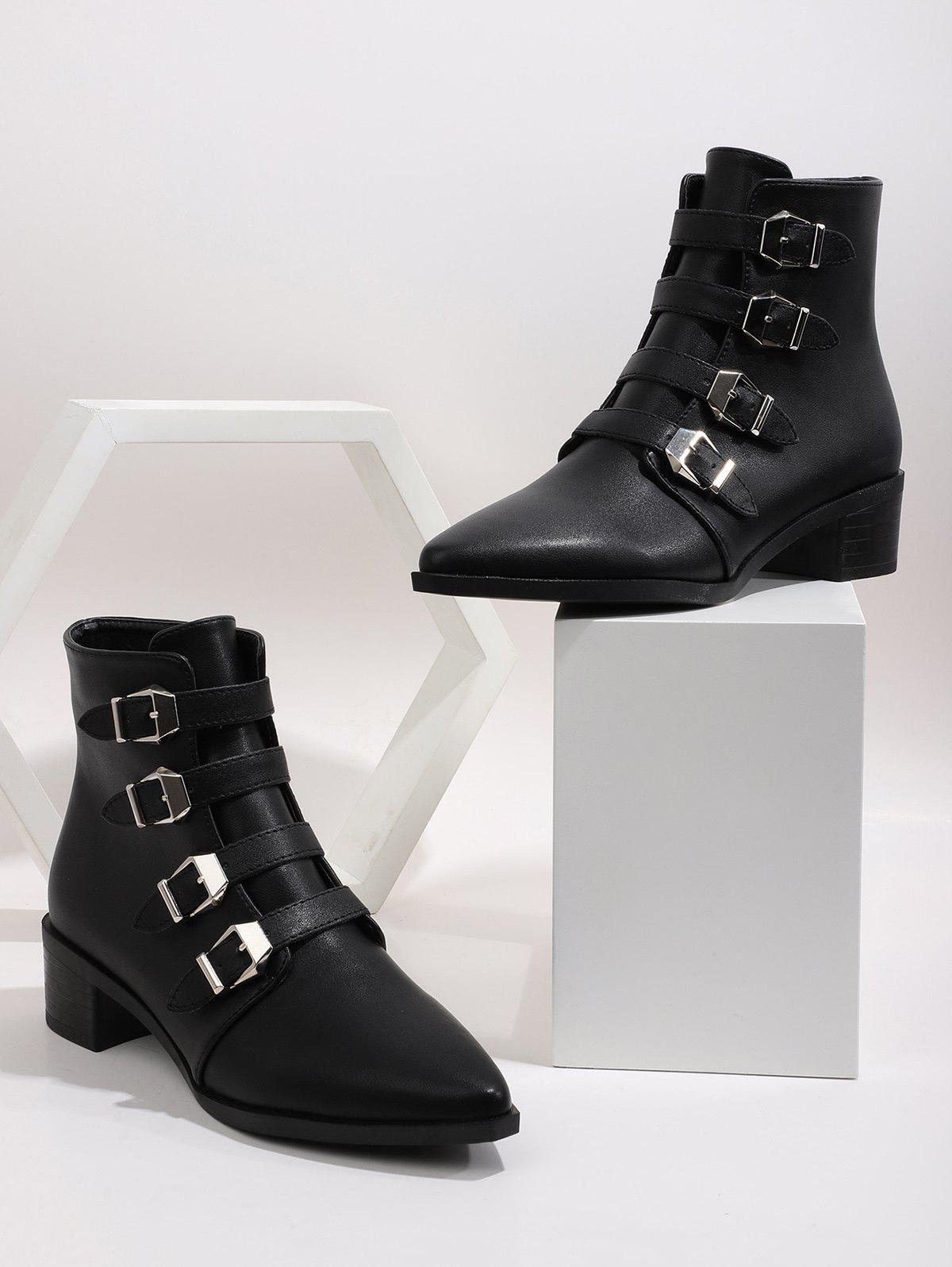 Online Plain Buckle Strap Pointed Toe Ankle Boots