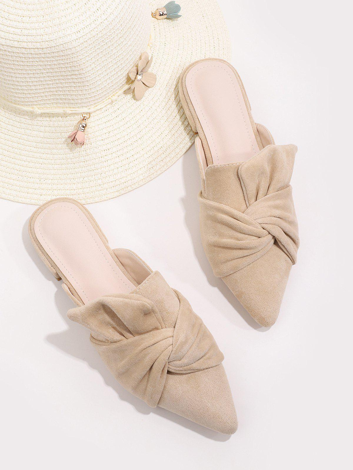 Sale Front Knot Pointed Toe Half Flat Shoes