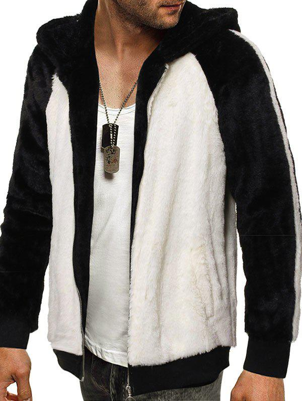 Online Raglan Sleeve Hooded Contrast Faux Fur Fluffy Jacket