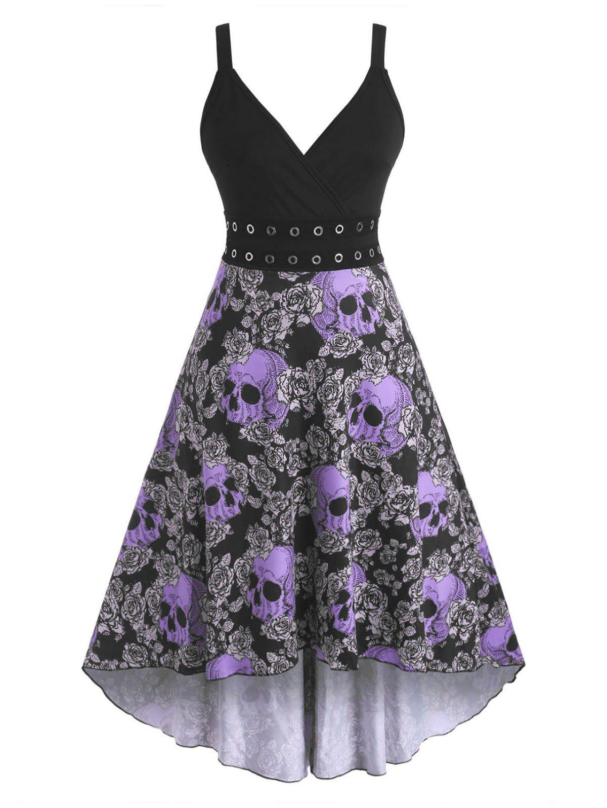 Unique Halloween Skull Floral Print Grommets High Low Dress