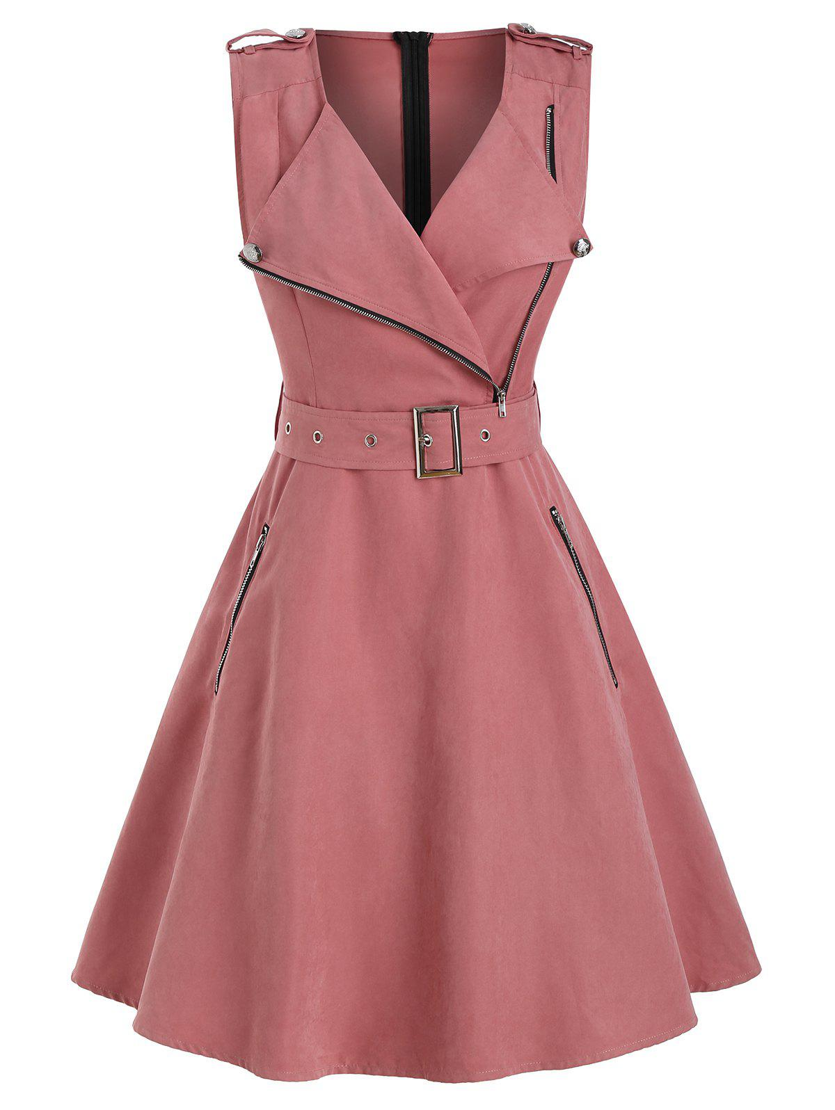 Outfits Half Zip Sleeveless Belted Dress