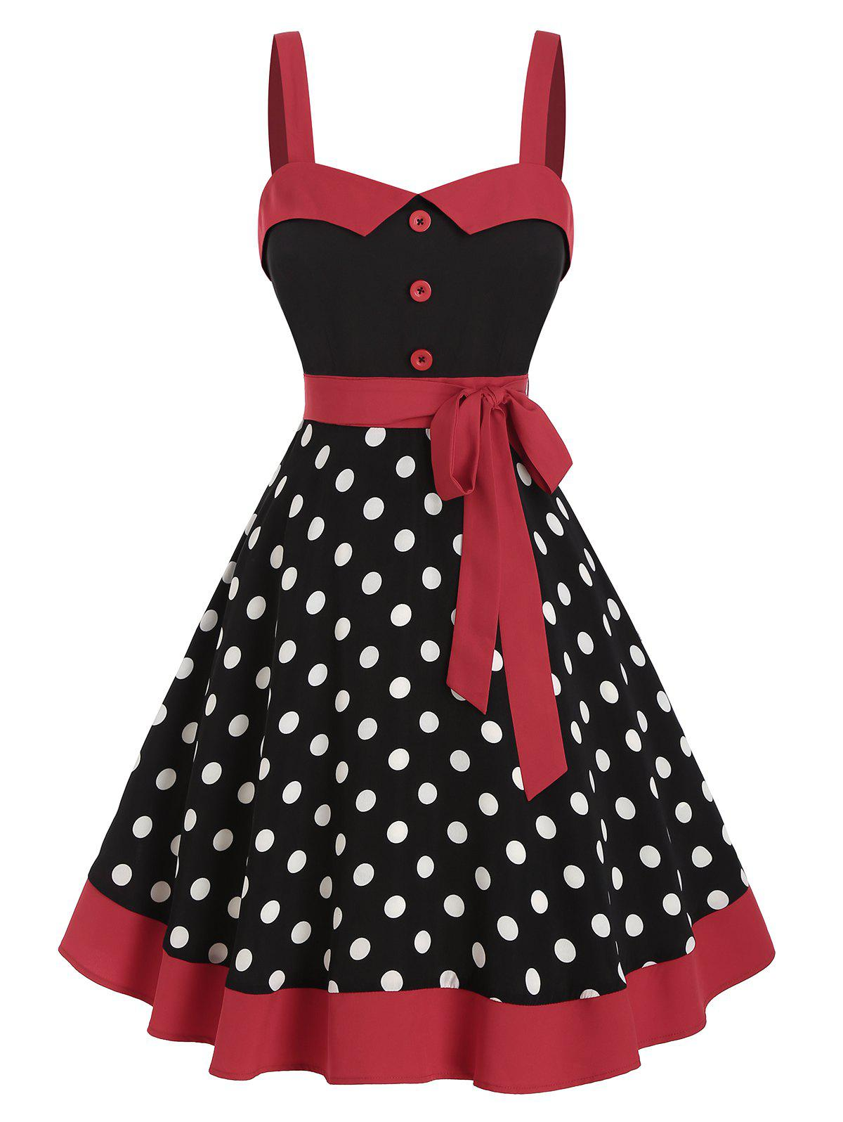 Hot Sleeveless Polka Dot Print Belted Vintage Dress