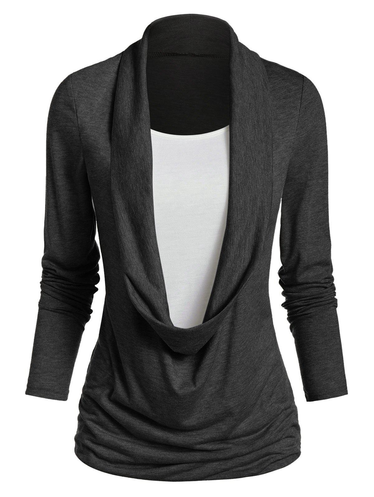 Fancy Long Sleeve Heathered Faux Twinset Casual T-shirt