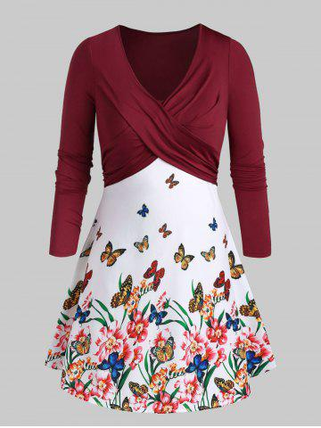 Plus Size Flora Butterfly Print Front Twist Dress