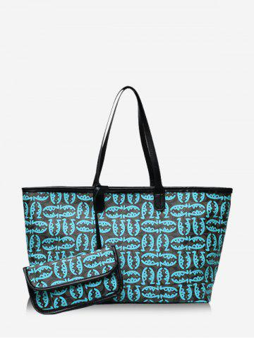 2 Piece Cartoon Fish Print Large Capacity Tote Bag Sets