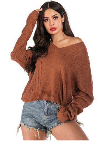 Cable Knit Drop Shoulder Oversized Sweater - MAHOGANY - XL