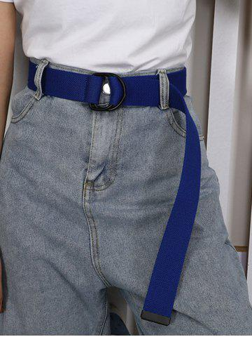 Leisure Unisex Canvas Double Ring Buckle Belt - BLUEBERRY BLUE