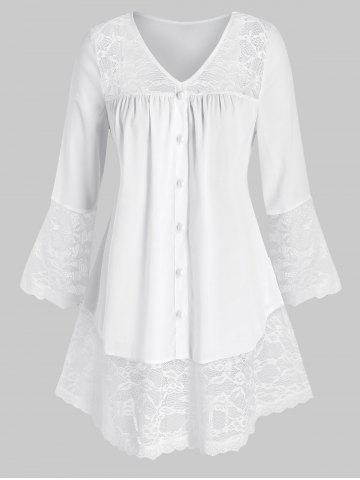 Plus Size Button Lace Panel Flare Sleeve Blouse