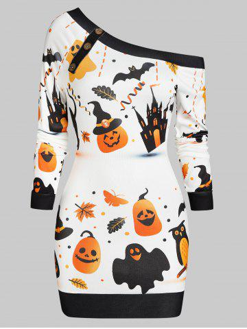 Skew Neck Halloween Pumpkin Castle Print Bodycon Dress