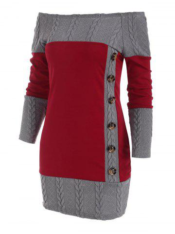 Cable Knit Combo Mock Button Sweater Dress - DEEP RED - 2XL
