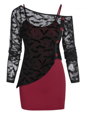Halloween Bat Pattern Asymmetrical Mesh Top and Cami Top - RED WINE - 3XL