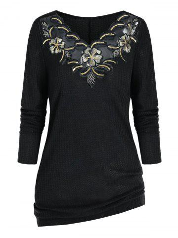 Plus Size Embroidered Sequin Knitwear - BLACK - 1X