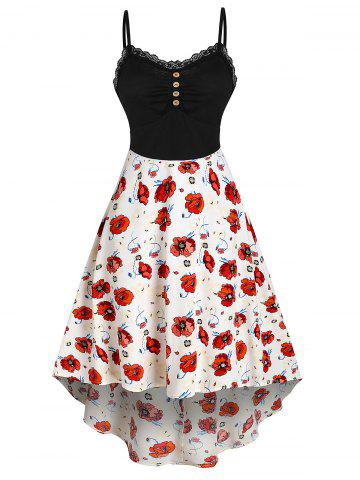 Lace Button Knit Flower Printed Splicing Dress - MULTI-A - 3XL