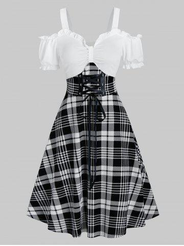 Cold Shoulder Houndstooth Plaid Print Lace Up A Line Dress
