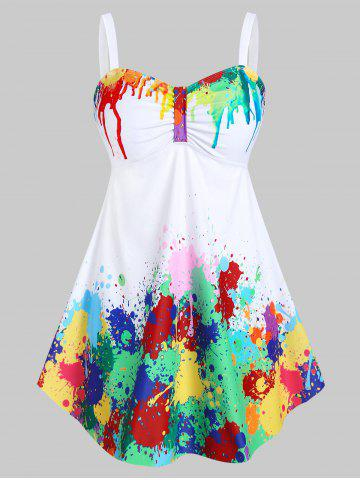 Plus Size Paint Splatter Empire Waist Tankini Swimwear