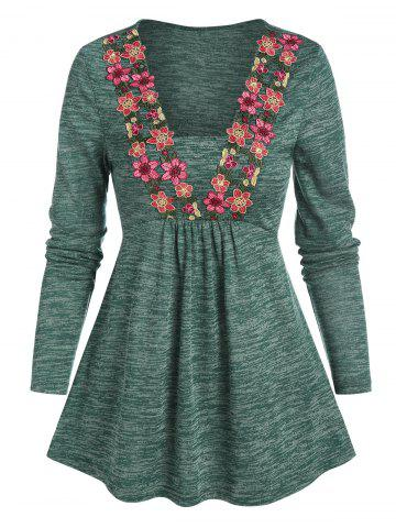 Floral Embroidery Space Dye Long Sleeve T Shirt - MEDIUM FOREST GREEN - L