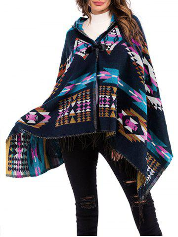Hooded Geo Horn Button Fringed Poncho