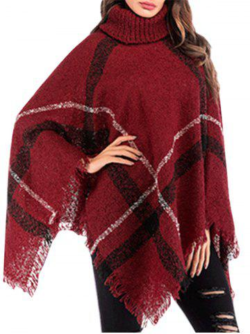 Turtleneck Plaid Fringed Poncho