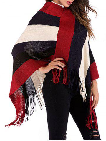 Fringed Wide Stripes Poncho