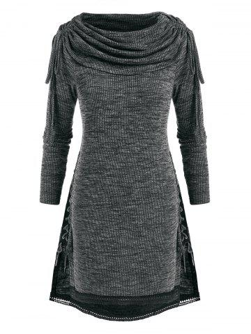 Plus Size Cinched Foldover Lace Up Heathered Knitwear - GRAY - 4X