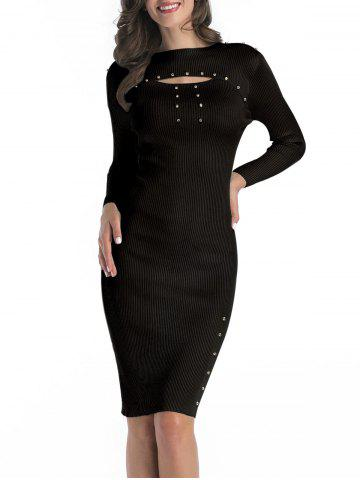 Ribbed Rivet Cutout Bodycon Dress