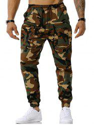 Drawstring Camouflage Print Tapered Cargo Pants -