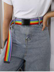 Rainbow Stripes Double Ring Buckle Woven Canvas Belt -