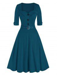 Half Button Belted Vintage Flare Dress -