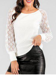 Ribbed Lace Sheer Sleeve Sweater -