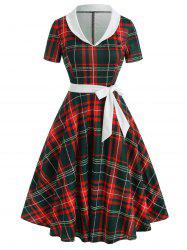 Vintage Shawl Collar Plaid Flare Dress -
