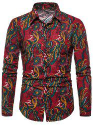 Seamless Paisley Print Turn-down Collar Casual Shirt -