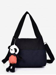 Canvas Colorblock Panda Pendant Shoulder Bag -
