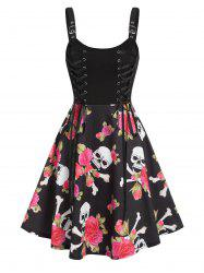 Floral Skull Print Lace Up Mini Cami Dress -