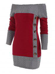 Cable Knit Combo Mock Button Sweater Dress -