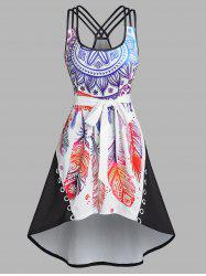 Feather Print Strappy High Low Belted Dress -