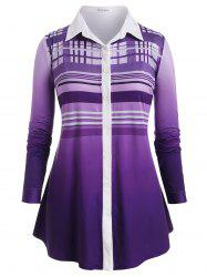Plus Size Plaid Ombre Roll Tab Sleeve Tunic Shirt -
