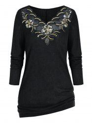 Plus Size Embroidered Sequin Knitwear -