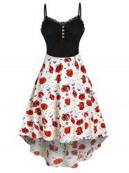Lace Button Knit Flower Printed Splicing Dress -