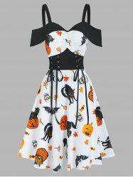 Halloween Pumpkin Animal Print Cold Shoulder Midi A Line Dress -