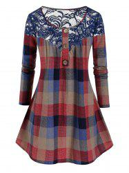 Plus Size Button Lace Insert Checkered Blouse -