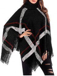 Turtleneck Plaid Fringed Poncho -