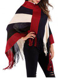 Fringed Wide Stripes Poncho -