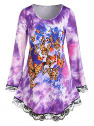 Plus Size Tie Dye Butterfly Print Lace Hem Long Sleeve Tee -