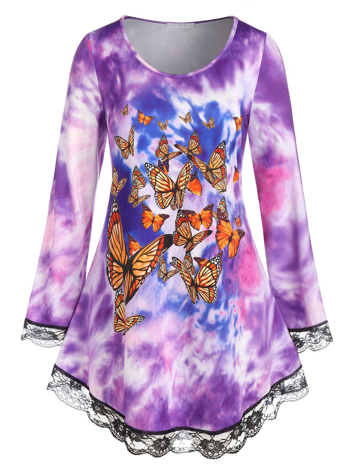 Discount Plus Size Tie Dye Butterfly Print Lace Hem Long Sleeve Tee