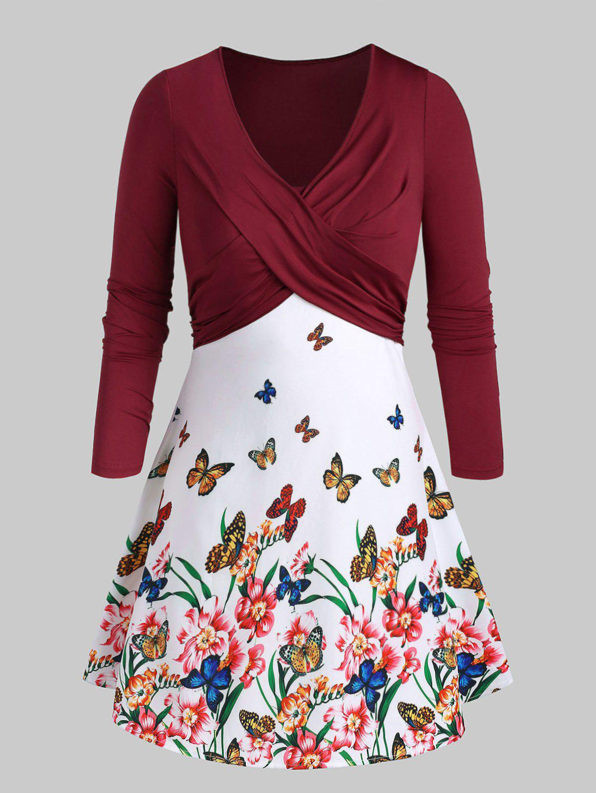 Outfit Plus Size Flora Butterfly Print Front Twist Dress