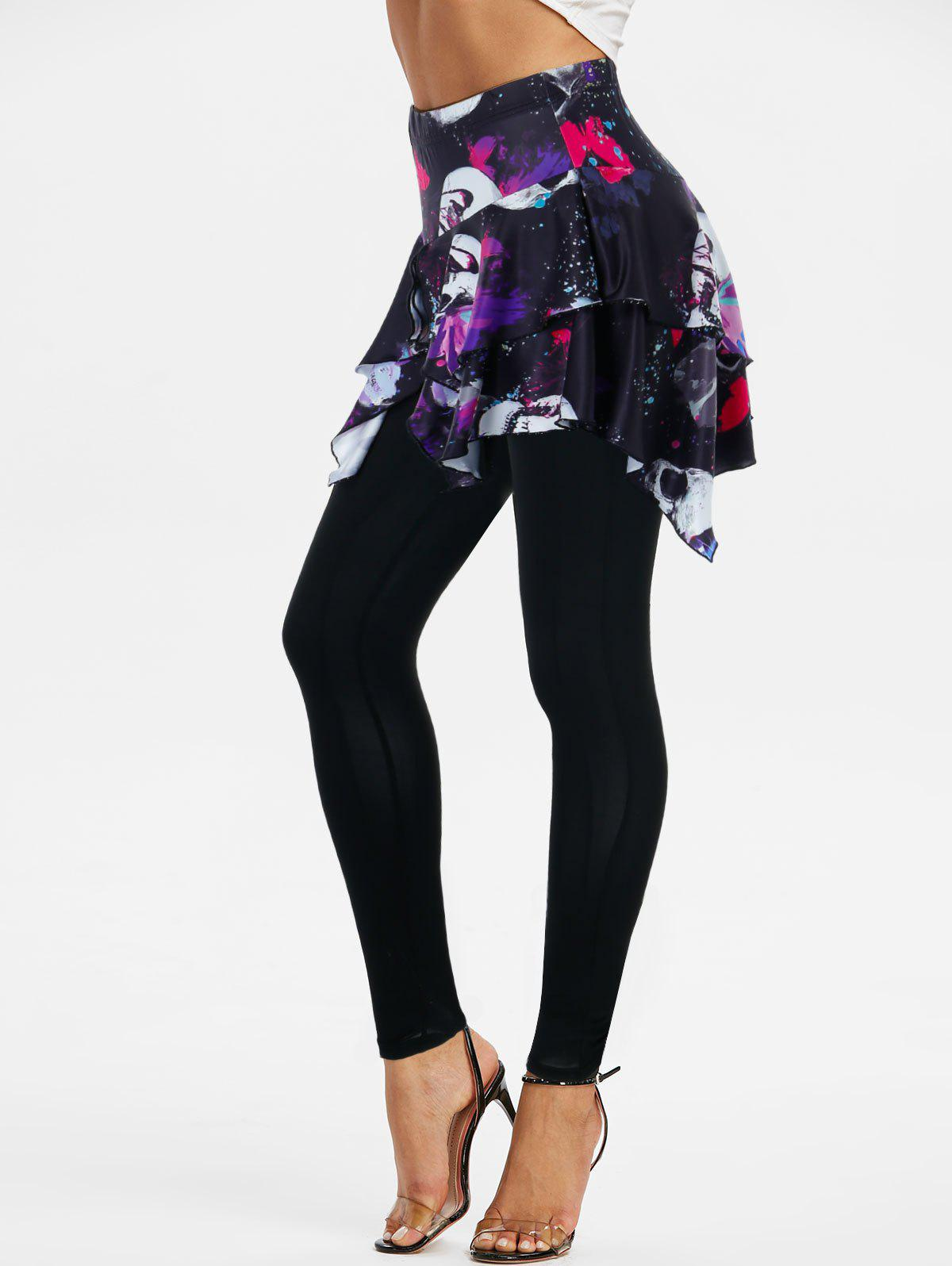 Best Skull Butterfly Print Layered Skirted Pull On Leggings