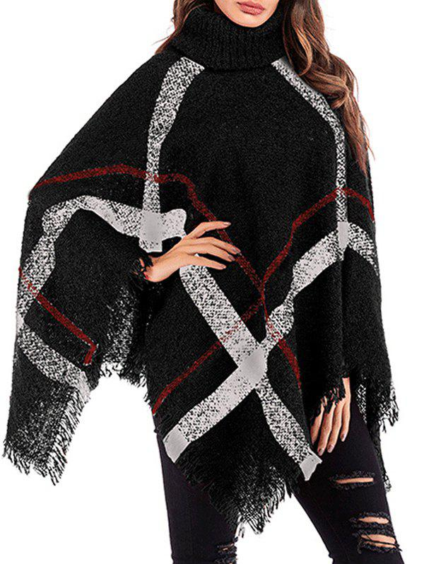 Outfit Turtleneck Plaid Fringed Poncho
