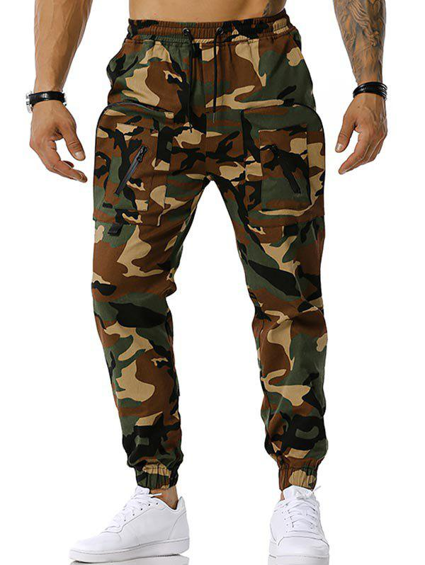 Online Drawstring Camouflage Print Tapered Cargo Pants