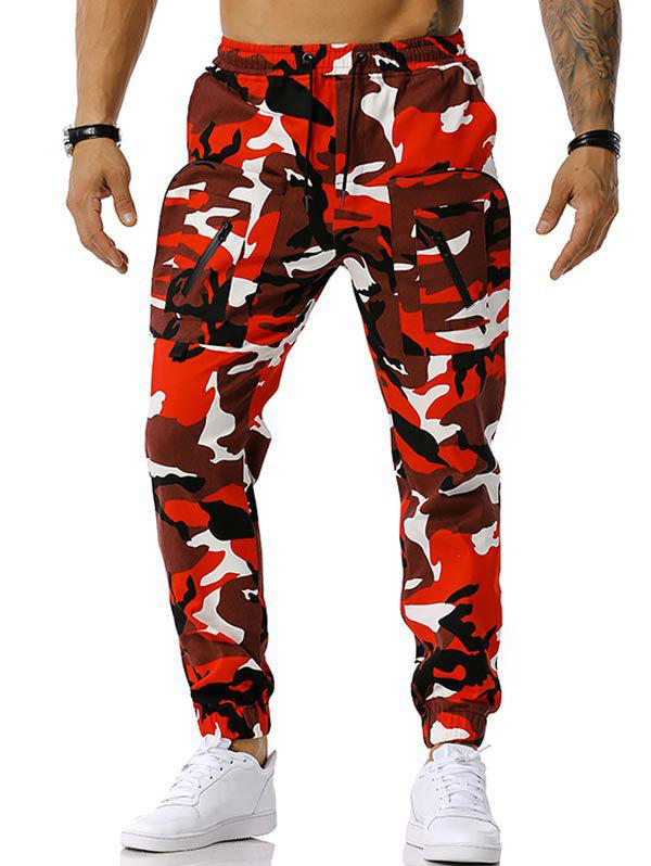 Fashion Drawstring Camouflage Print Tapered Cargo Pants