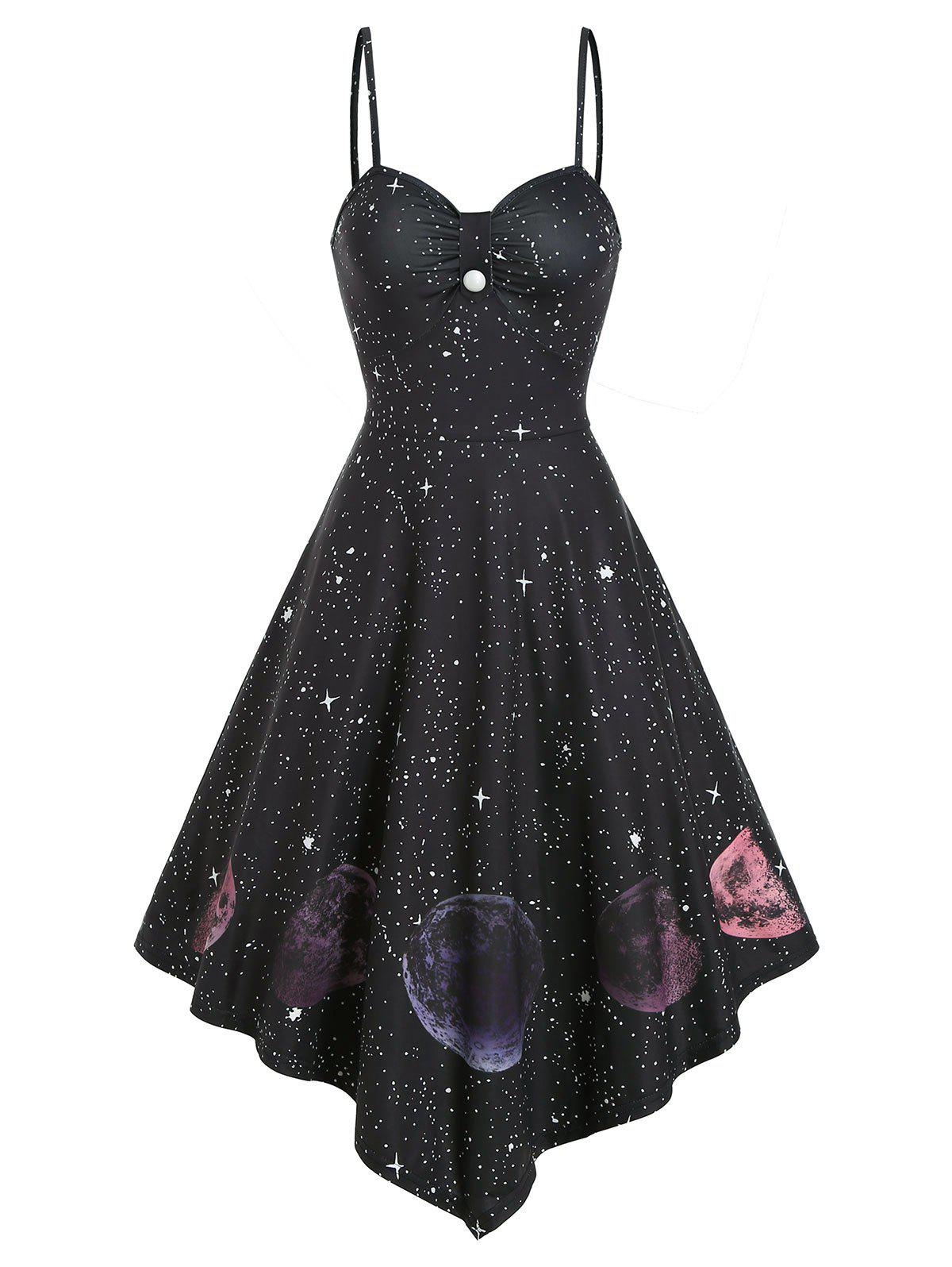 New Button Starry Print Asymmetric Slip Dress